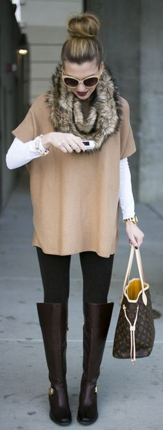 Ways to Style Leggings! Talk about a modern maven look! Pair your leggings with a great sweater/tunic, tall riding boots, and a fabulous fur scarf! Complete your look with a quick top knot and bold lipstick! Where would you wear this style?
