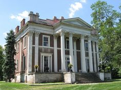 Ward Hall, Georgetown, Kentucky History from Wikipedia: Ward Hall is a Greek Revival antebellum plantation mansion located in Georgetown, Kentucky. The 12,000-square-foot (1,100 m2), with 27-foot (8.2 m) high Corinthian fluted columns, is a Greek Revival house in Kentucky, and one of the finest examples of a mid-nineteenth classical building in the United States.