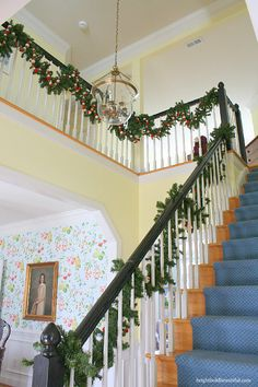 Felted Christmas garland draping the banister