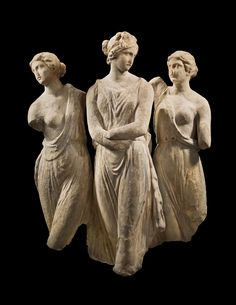 "The Three Graces, Hellenistic, c. 2nd-1st Century BC  Graces (or Charites) are goddesses of charm, beauty, nature, human creativity and fertility. They are, from youngest to oldest: Aglaea (""Splendor""), Euphrosyne (""Mirth"") and Thalia (""Good Cheer"")."