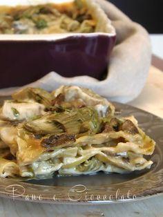 Lasagna ai carciofi e funghi