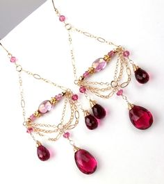 Hot Pink Gemstone Chandelier Earrings 14kt Gold Filled Chain Chandelier Earrings Wire Wrapped Rhodolite Quartz Chain Luxury Fashion