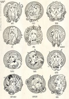 Art nouveau Zodiac by veika.deviantart.com on @deviantART