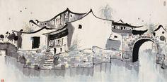 小桥流水人家 - 吴冠中/Wu Guanzhong, 1988 (Google Search result for 吴冠中)