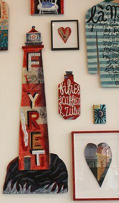 Jonny Hannah, 'Darktown', lighthouse, illustration, type, lettering, sculpture, wood, frames, collection, hand typography