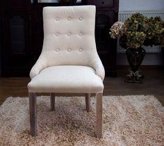 Duże, wygodne krzesło, tapicerowane grubą tkaniną w kolerze ecru / Upholstered Chair Collection Rustic Shabby Chic