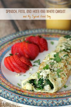 Spinach, Feta, and Herb Egg White Omelet ...and My Typical Food Day | EricasRecipes.com