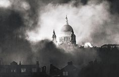St Paul's, surrounded by flames