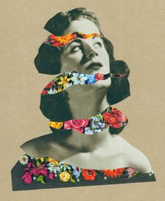 Collage by Martin O'Neill - I love how the flowers and the black and white image combine. I love flower collage, its so, lush. I love how inside her are all these beautiful colourful blooms. Collage Kunst, Art Du Collage, Mixed Media Collage, Collage Illustration, Collage Artists, Flower Collage, Dream Illustration, Surreal Collage, Illustration Artists