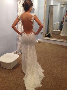 Wishesbridal Sleeveless #Illusion Sweep Train Lace Trumpet Mermaid Backless Beach #WeddingDress Awb0090