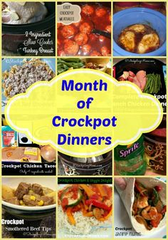 Month of Crockpot Dinners to help you not worry about what's for dinner and save money for your family!