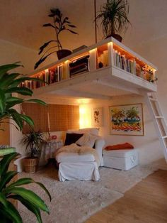 """Love this idea if we have a home with high/vaulted ceilings. Makes it more cozy in the living room, gives more storage and gives kids a fun indoor """"tree house""""."""