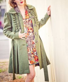 Love this Olive Luxury Problems Wool-Blend Coat by Nick & Mo on #zulily! #zulilyfinds