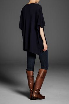 buttoned cape, leggings, boots... I want this for fall.