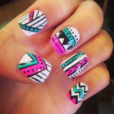 #nails #aztec #manicure #bright #designs