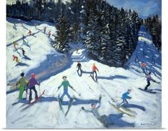 Andrew Macara Poster Print Wall Art Print entitled Mid-morning on the Piste, 2004 (oil on canvas), None