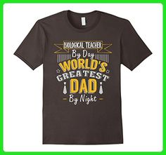 Mens Biological Teacher By Day World's Greatest Dad By Night Tee Large Asphalt - Relatives and family shirts (*Amazon Partner-Link)