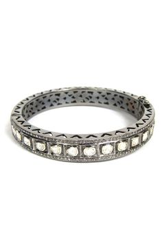 The Woods Raw Diamond Bangle in Silver at ShopGoldyn.com