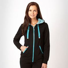 Maine Black hooded zip through sweatshirt - £30