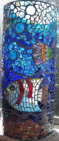 """Stained  and vitreous glass on glass vase.  20"""" tall."""
