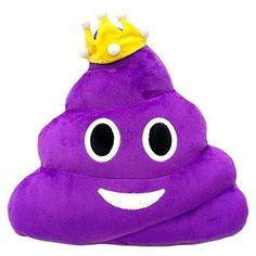 Purple Queen Poop Princess Emoji Pillow Emoticon Stuffed Plush Toy Doll Smiley Cat Heart Eyes Alien Devil Kiss Face (PURPLE QUEEN POOP )