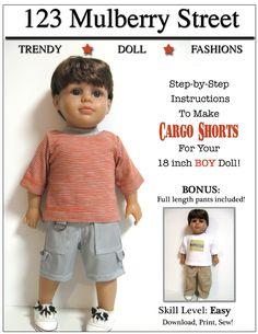 Boy Cargo Shorts 18 inch doll clothes pattern