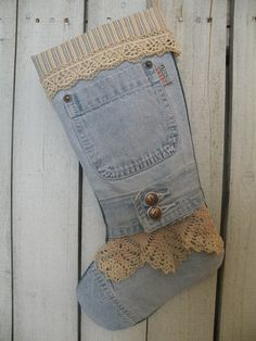Prairie Christmas denim stocking Rustic by PrairieFarmGoods2
