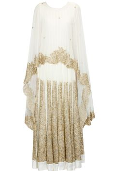 Ivory floral zardozi and sequins embroidered cape anarkali set available only at…
