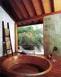 Traditonal Japanese wooden baths. How very zen-like, no? >> The Taproot, West Wind Hardwood.