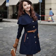 Discount China china wholesale 2012 New Women's Single-breasted Cape Wool Coat Jacket Outwear Navy with Belt [31269] - US$34.36 : DealsChic