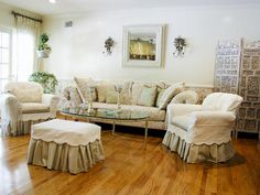 the slipcovers with scallops and gathered skirts are so girly!!