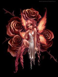 Fada numa roseira. Adorei os detalhes em folha da roupa e das asas.