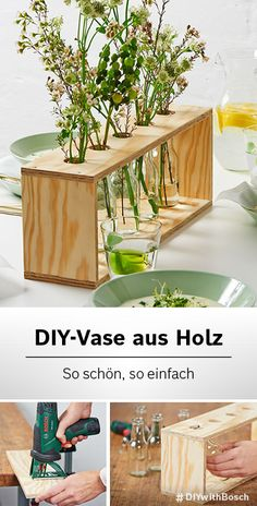 Spring all year round - with this DIY table decoration - Decorating with flowers is very easy. And with our instructions quickly: The wooden vase is filigre - Wooden Vase, Wooden Diy, Room Deco, Deco Floral, Diy Décoration, Diy Desk, Diy Cards, Diy Home Decor, Diy And Crafts