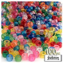 Pony Beads, Transparent, 9x6mm, 100-pc, Multi Mix