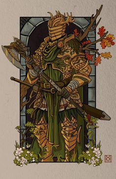 ArtStation - Bercilak: The Green Knight , Moe Balinger Dungeons And Dragons Characters, Dnd Characters, Fantasy Characters, Fantasy Armor, Medieval Fantasy, Dark Fantasy, Fantasy Character Design, Character Concept, Character Art