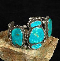 .silver bracelet, set with five Blue Gem turquoise stones, ca. 1940's