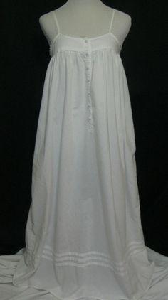 Victoria's Secret Nightgown Long Classic White Cotton Sm Lace Straps Button Yoke #VictoriasSecret #Victorian #Everyday