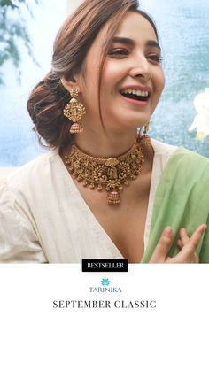 Never before would you have taken such good care of your neck's appearance as when you wear the Dwiti antique choker. The beautiful craftsmanship and art by our designers makes this piece a perfect choice for grand affairs. The rich royal look of this choker design is suitable for both bridal affairs and grand gala events.  When you buy from Tarinika, you get our promise of quality as is displayed in the Dwiti Antique Choker. This is antique jewelry at its best. Saree Jewellery, Temple Jewellery, Gold Jewellery, Indian Jewelry Sets, Indian Jewellery Design, Jewelry Design Earrings, Necklace Designs, Girls Dresses Sewing, Royal Look