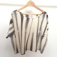 Hand-dyed Raw Silk Top - warm grey stripe