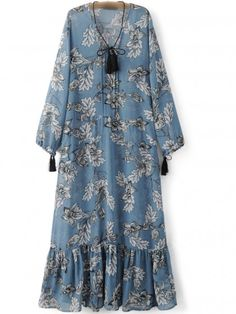 SheIn offers Blue Tie Neck Tassels Flowers Print Maxi Dress & more to fit your fashionable needs. Long Sleeve Floral Dress, Floral Print Maxi Dress, Chiffon Maxi Dress, Maxi Dress With Sleeves, Dress Long, Mode Abaya, Mode Hijab, Women's Dresses, Fashion Dresses