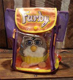 Original Vintage Furby Backpack Carrier Bag w/ 1998 Grey White Blue Eyed FURBY