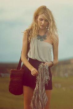 summer love #highwaisted #shorts #chunky #jewelry #tank #oneshoulder