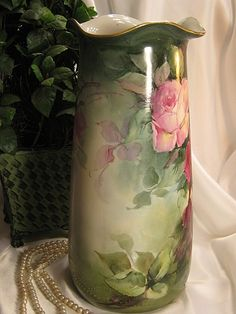 "Absolutely Magnificent Antique Limoges France 14 1/2"" VASE Roses from oldbeginningsantiques on Ruby Lane"