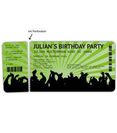 Einladungskarten Für Geburtstag Eintrittskarte Konzertkarte Ticket Karte  Einladung | Einladungen | Pinterest