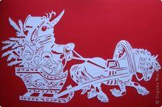 Картина панно рисунок Новый год Вырезание Эх прокачу Бумага фото 2