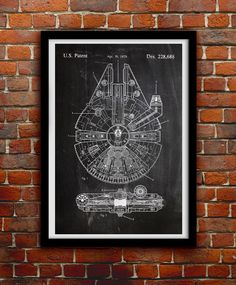Star Wars Millenium Falcon - Geek Decor - Patent Print Poster Wall Decor - 0068 by thepatentoffice on Etsy https://www.etsy.com/listing/212897725/star-wars-millenium-falcon-geek-decor