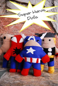 A FREE PDF pattern to make softie super hero dolls