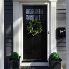 Dramatic black front door eclecticallyvintage.com - rebuild front door/entry.