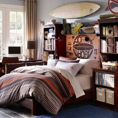 Teen Room: Masculine Teenage Bedroom Design With Wooden Framed Bed With Cream Coverlet And Striped Blanket With Wooden Bookcasea And Shelves: Cool Rooms For Adolescent With An Esoteric Taste