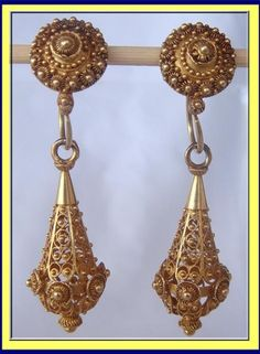 ANTIQUE VICTORIAN DAYNIGHT 18K GOLD CANNETILLE EARRINGS For Sale | Antiques.com | Classifieds